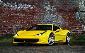 Картинка Феррари, Желтая, Италия, Ferrari, gold, 458, italia