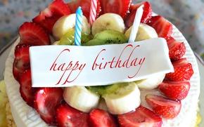Обои strawberry, торт, день рождения, cake, fruits, Happy Birthday, бананы, клубника