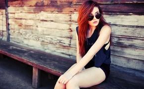 Картинка девушка, очки, рыжая, girl, redhead, glasses