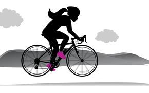 Картинка девушка, велосипед, рисунок