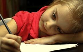 Картинка настроение, девочка, карандаш
