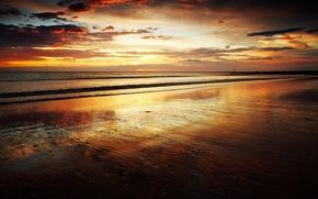 Картинка море, пляж, небо, закат, вечер