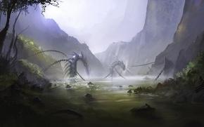 Картинка горы, туман, озеро, арт, змей, цепи