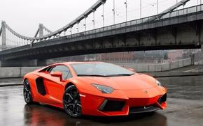 Картинка оранжевый, мост, lamborghini, авентадор, aventador lp700-4