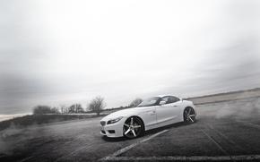 Картинка туман, тюнинг, бмв, BMW, белая, white, диски, E89