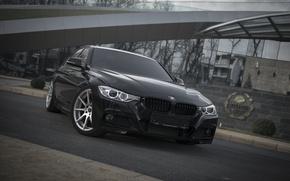 Картинка BMW, Черная, БМВ, Фары, Tuning, F30, Спереди