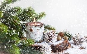 Картинка снег, украшения, елка, Новый Год, Рождество, Christmas, balls, decoration, Merry