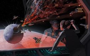 Картинка star wars, Star Destroyer, art, spaceship, Leia Organa, death star, Alderaan Cruiser