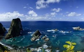 Обои море, берег, Япония