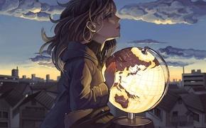 Обои глобус, арт, дома, аниме, город, девушка, небо, takumi05, облака
