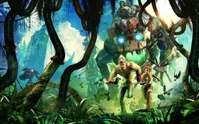 Картинка робот, джунгли, monkey, trip, Enslaved. Odyssey to the West