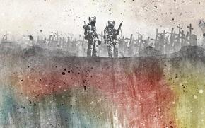 Картинка абстракция, стиль, оружие, узоры, краски, colors, точки, войны, кладбище, style, patterns, cemetery, 1920x1080, abstraction, weapons, ...