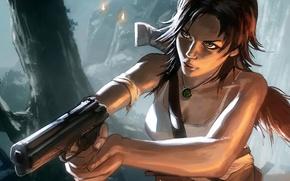 Картинка девушка, пистолет, арт, Lara Croft, Loyvet Pierre, Tomb Raider Reborn