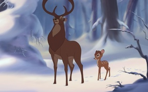 Картинка зима, лес, снег, мультфильм, Бэмби, олень