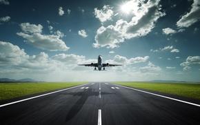 Обои Небо, Солнце, Аэропорт, Трасса, Самолет, Тень