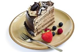 Картинка малина, шоколад, черника, клубника, тарелка, торт, пирожное, вилка, cake, крем, десерт, выпечка, тортик, сладкое, chocolate, ...