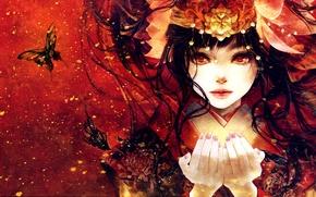 Обои взгляд, руки, арт, лицо, кимоно, аниме, девушка, бабочки