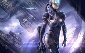 Картинка девушка, космос, оружие, корабли, станция, скафандр, арт, шлем