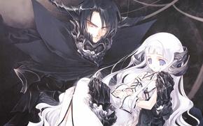 Картинка демон, воротник, девочка, рога, парень, белые волосы, art, sumi keiichi