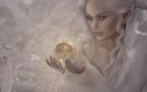 Картинка девушка, взрыв, лицо, фон, волосы, шар, слезы