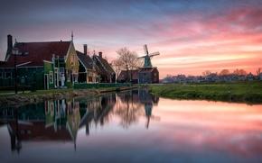 Картинка закат, дом, отражение, мельница, Нидерланды