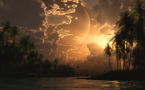Обои море, пальмы, digital, The Fisherman, острова, закат