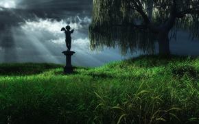 Обои ангел, трава, дерево, статуя