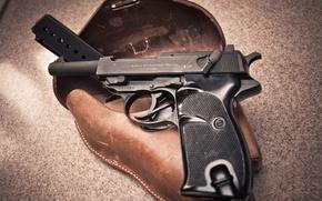 Картинка пистолет, оружие, фон, кобура, P38