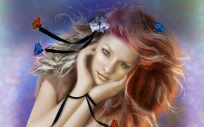 Картинка цветок, взгляд, девушка, бабочки, лицо, фон, волосы, руки, арт, живопись, ленточки
