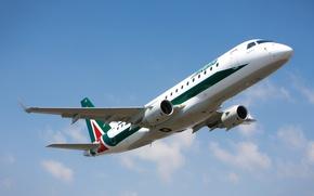 Картинка Италия, взлёт, Embraer, Аэропорт, небо, E175, Alitalia, самолёт, облака