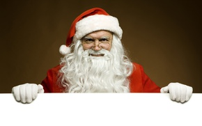 Картинка белый, красный, лицо, фон, новый год, рождество, руки, очки, старик, борода, санта клаус, дед мороз, …