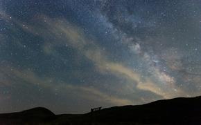 Картинка космос, звезды, горы, Млечный Путь, тайны