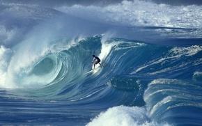 Картинка океан, волна, человек