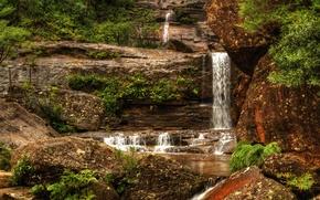 Картинка камни, водопад, Австралия, кусты, Wentworth Falls
