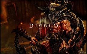 Обои оружие, логотип, Diablo III, варвар