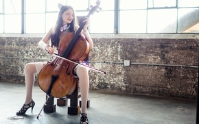 Картинка девушка, музыка, виолончель, Chelo