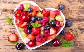 Картинка вишня, ягоды, малина, черника, клубника, виноград, ежевика, fruit, cherry, grapes, strawberry, raspberry