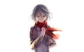 Картинка белый фон, военная форма, fan art, Shingeki no Kyojin, Mikasa Ackerman, красный шарф, Вторжение Гигантов, ...