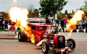 Картинка двигатель, пламя, Hot Rod, выхлоп, drag, зрители, показуха, понты