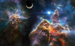 Картинка космос, звезды, туманность, планета, space, universe, nebula, art, stars, planet