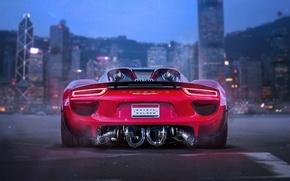 Картинка Porsche, Red, 918, Tuning, Future, Supercar, by Khyzyl Saleem, Bisi