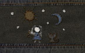 Картинка рисунок, джинсы, стежки