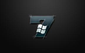 Обои windows, серый, seven, логотип