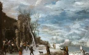 Картинка зима, люди, картина, мифология, Francisco Collantes, Зимний Пейзаж с Поклонением Пастухов