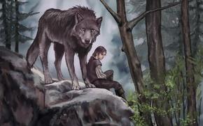 Картинка животное, хищник, арт, волк, деревья, живопись, Game of Thrones, листья, Arya Stark, Nymeria, лес