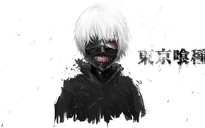 Обои глаз, волосы, маска, парень, anime, art, Tokyo Ghoul, Ken Kaneki