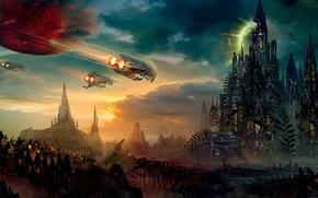 Обои планета, небо, корабли, город, космос