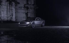 Картинка Mustang, Ford, Dark, Muscle, Car, Front, Grey, Wheels, Velgen, Ligth, Nigth