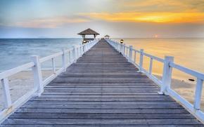 Картинка Thailand, beach, bridge, bay, Wooded bridge