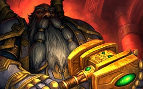 Картинка карта, молот, арт, WoW, World of Warcraft, дворф, Hearthstone, Arsenal21, Правосудие света, Light's Justice